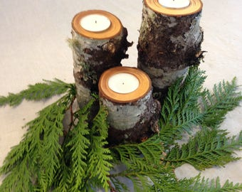 Fir Tree Branch Candle Holders set of 3