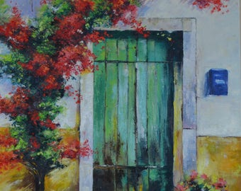 Oil painting Door Larg canvas original painting, lanscape biulding