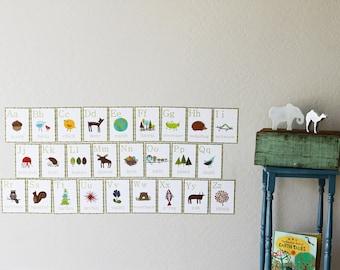 ABC - Alphabet Art, Alphabet Wall Art, Flashcards, ABC Prints, Childrens Alphabet Wall Art, Nursery Alphabet cards