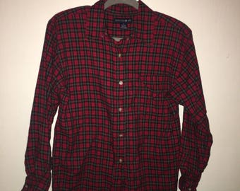 Vintage red plaid button down with shoulder pads
