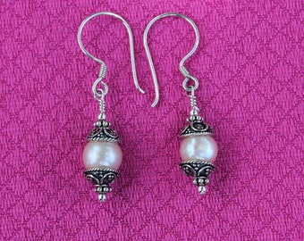 Pale Pink Freshwater Pearl Earrings with Bali Silver Bead Caps