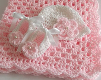 Crochet Baby Blanket,Hat and Booties, Pink with White Granny Square Crochet, Baby Shower Gift BabyGirl Set Christening Satin Ribbon