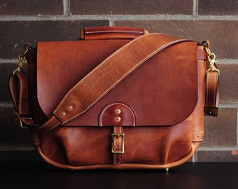 "Handmade 16""  Horween English Tan Dublin Leather Mailbag"