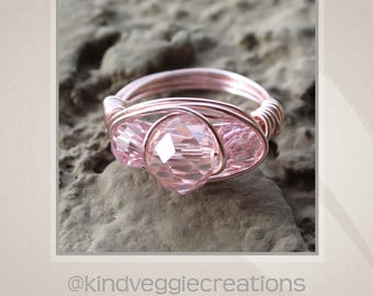 Pink Faceted Wire Wrapped Ring