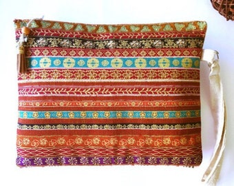 Handmade ethnic boho chic hippie tribal hand clutch bag clutch bag
