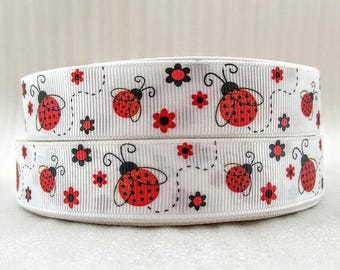Glitter Grosgrain Ribbon Red Ladybug Ribbon By The Yard 7/8 inch wide