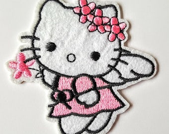 Patches , Kitty Embroidered ,Iron On Applique, Sew On Patch, Kitty Angel