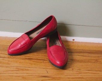 Red Vintage Leather Flats Size 9