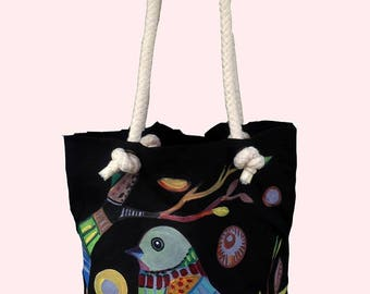 Bird Acrylic Painted on Cotton Canvas Tote Bag - Tote Bag - An Original Painted - Handmade Tote Bag