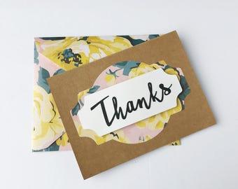 Handmade Thank You Card - matching envelope - Floral - Thanks