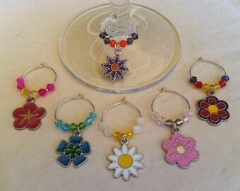 Wine Glass Charms, Wine Glass Tags, Wine Charms, Wine Glass Markers, Glass Charms, Set of 6, Flower Wine Charms