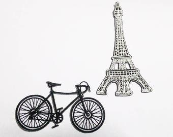 2pcs. Bicycle and Eiffel tower in Paris patch.