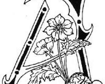 Floral Letter A Unmounted Rubber Stamp