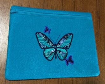 Felt Cosmetic Bag, Make-up, Toiletries, Purse, Jewelry Bag, Travel Bag, Applique, Embroidery, Zipper, Not Lined