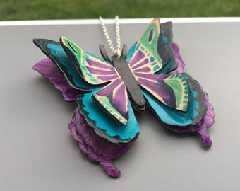 Butterfly Necklace | 3 dimensional | Handmade Leather Pendant