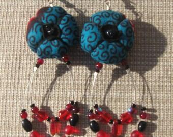 Wax and beads earrings