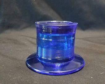 Blue glass Top Hat Figurine