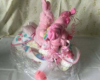 Baby Diaper Bicycle Bike Pink Bunny Shower Gift Decor Decoration