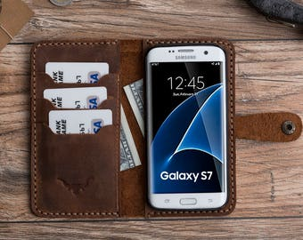 Samsung Galaxy S7 Case, Samsung Galaxy S7 Wallet Case, Galaxy S7 Leather Wallet Case, Gift, Brown Galaxy S7 Case, Fathers Day Gift #PAKHET