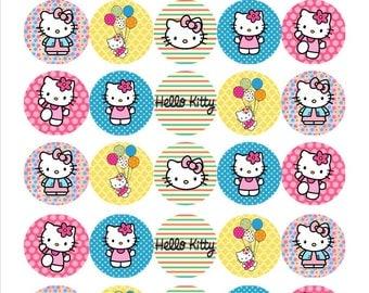 Hello Kitty Mini Edible Wafer Cupcake Toppers