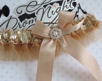 Champagne prom garter 2017,  Prom garters