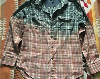 Ombré dip dyed green and pink flannel shirt