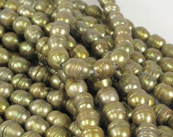 10 to 11 x 13 to 14 mm Rice / Oval Large Hole Freshwater Pearl With Ring Hole Size 2 mm, Olive Green OR Champagne Colors (133-LHRMIX1113)