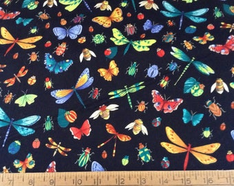 Colorful bugs cotton fabric by the yard