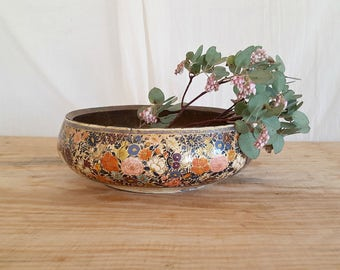vintage painted floral bowl   wood brass bowl   India Paper Mache hand crafted   lacquer hand painted accent bowl