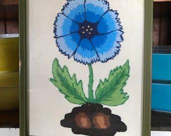 Blue Flower Embroidered Crewel