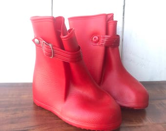 Red Rain Boots Overshoes