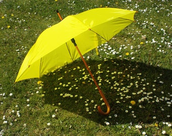 Yellow Wedding Umbrella / Function Rain Parasol Brolly with Wooden Crook Handle and Automatic Opening / Bridesmaids Mother of the Bride