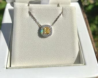 Natural Untreated Intense yellow diamond and white diamonds 14K white gold pendant with chain