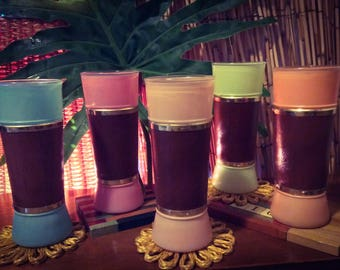Rare Siesta Ware Tiki Glasses Set of 5