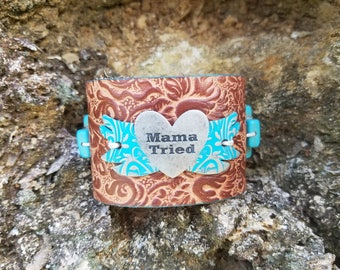 Mama Tried turquoise cross leather cuff bracelet