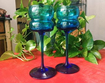 Blue Glass Vintage Candleholders, Pair of 2 Long Stem Tealight Candleholders