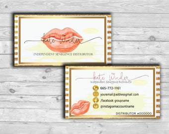 LipSense Business Card, SeneGence business card - 3.5x2 - Gold foil and lips