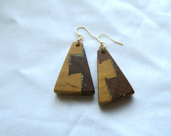 Wooden earrings made in Hawaii from locally reclaimed materials with turquoise inlay