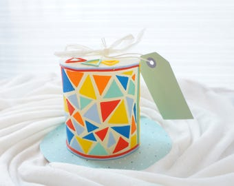 Candle with mosaic