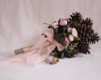 Bride's bouquet with cone and pink flowers