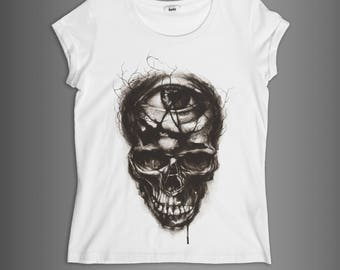 PLAY DEAD////DIMFC//Woman t-shirt 100% cotton/White and black//illustration/watercolor skull//eye//press