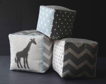 Safari soft baby blocks with hand sewn Giraffe and letter G appliqué - Safari theme - Dark and Light Gray - Blue - White - Modern - Homemade