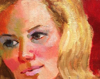 Vintage Painting Beautiful Portrait of a Blonde Woman