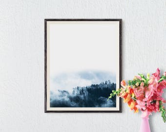 Forest Print, Forest Art, Minimalist Wall Art, Forest Fog, Modern Art, Minimalist Art, Trees, Scandinavian Art, Nordic Art, Nature Art