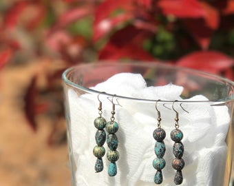 Antique Copper, Gold with Turquoise Dangle Earrings