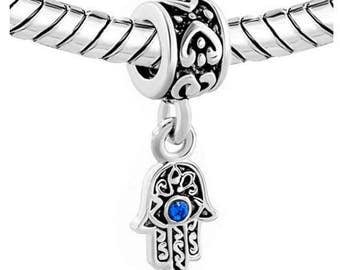 Adorable Hamsa Charm - Evil Eye Charm - Hamsa Jewelry - Hamsa Bead  - Hamsa Dangle Charm Fits All Charm Bracelets ( 1 Charm)