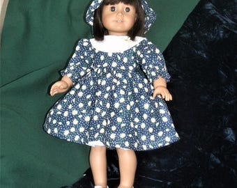 18 inch doll dress.  blue with daisy print