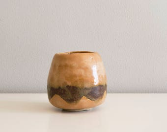 Studio pottery ceramic cup beige brown green. Stoneware.