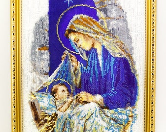 Beaded picture Madonna and Child in cradle blue star bead-embroidered decor gift beadwork embroidery bead art interior design decoration