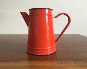 coffee maker red enameled metal was